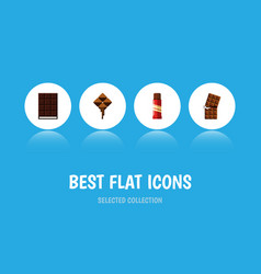 flat icon cacao set of dessert delicious wrapper vector image