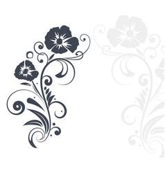 Floral branch black flat decoration vector