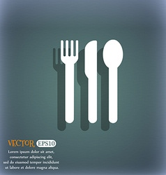 fork knife spoon icon symbol on the blue-green vector image