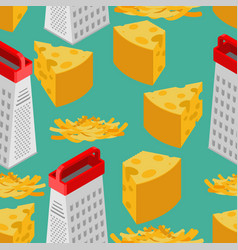 Grated cheese and grater seamless pattern food vector