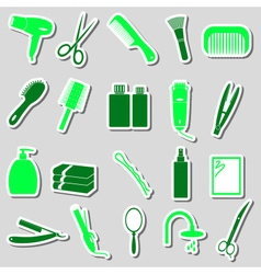 Hair care theme color simple stickers set eps10 vector