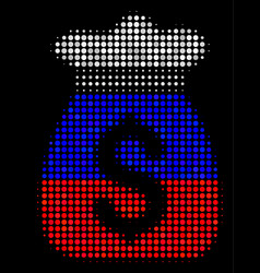Halftone russian money bag icon vector