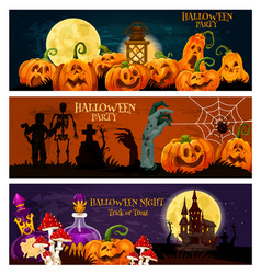Halloween holiday zombie night party banner design vector