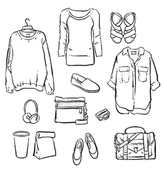 Hand drawn fashionable womens clothes vector image