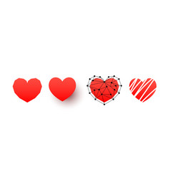 hand drawn hearts icons set design elements for vector image
