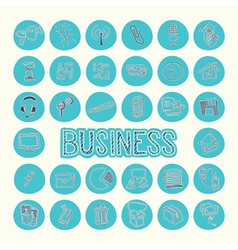 Hand drawn icons set of business Blue circle vector