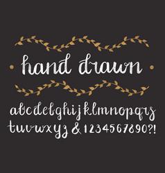 hand drawn script alphabet letters written vector image