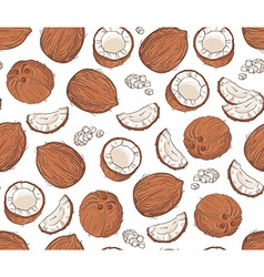 Hand drawn seamless pattern with coconuts vector
