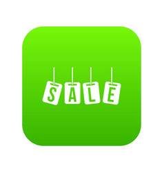 hanging sales tags icon digital green vector image