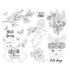 hello spring bunny set cute rabbit bloom vector image