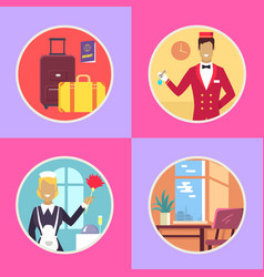 hotel conveniences round cartoon set vector image