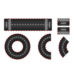 Infinity race track with start finish and line vector