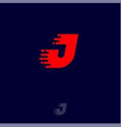 j letter winds movement dynamic logo velocity vector image