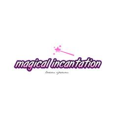 Magical incantation word text logo icon design vector