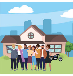 Millennial group in house front porch background vector