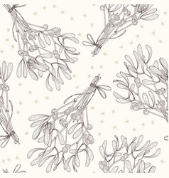 mistletoe seamless pattern sketch line art vector image