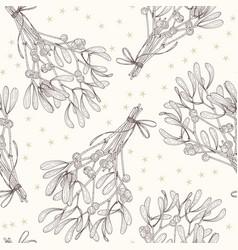 Mistletoe seamless pattern sketch line art vector