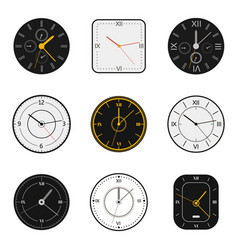 modern watch face clock round scale faces vector image