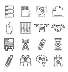 network technology digital devices icons vector image