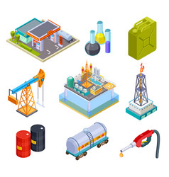 Oil gas industry isometric fuel storage oil vector