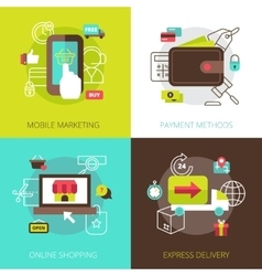 Online shopping concept 4 flat icons vector image