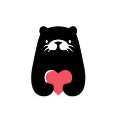 otter love heart logo icon vector image