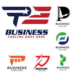 p letter based theme logo set vector image