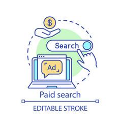 Paid search concept icon ppc channel idea thin vector