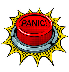 Panic red button pop art vector