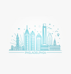 philadelphia pennsylvania usa skyline vector image