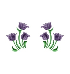 Purple tulips set vector