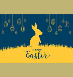 rabbit and easter eggs flat style background vector image