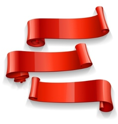 Realistic Red Glossy ribbons set vector image
