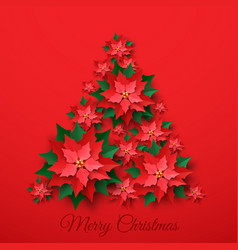 Red christmas poinsettia flower vector
