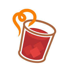 Red icy cocktail vector