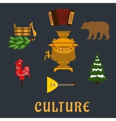 Russian culture flat icons set vector image