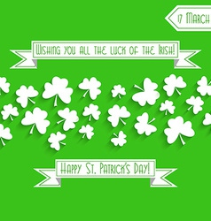 Saint Patricks Day background with shamrock vector image