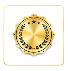 Seal award gold icon blank medal isolated white vector