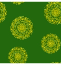 Seamless green-yellow floral pattern vector