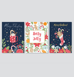 set christmas and new year greeting cards vector image