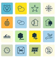 set of 16 eco icons includes home sun power vector image