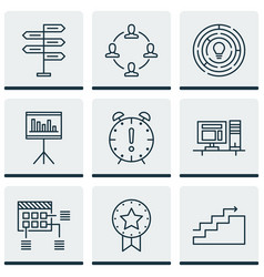 Set of 9 project management icons includes time vector