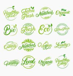 set organic local fresh lettering logos vector image