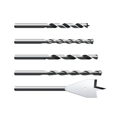 Set realistic different steel drill bits vector