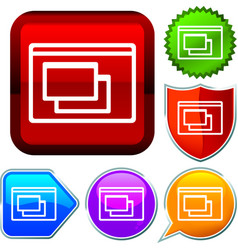 Set shiny icon series on buttons computer window vector