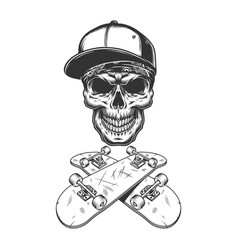 skateboarder skull in baseball cap and bandana vector image