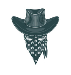 skull cowboy in a mask monochrome hand drawn vector image