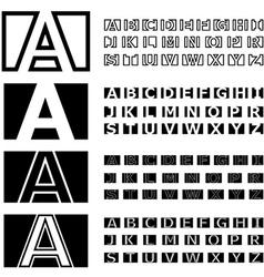 Square contour font alphabets vector