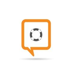 Square orange speech bubble with live saver vector