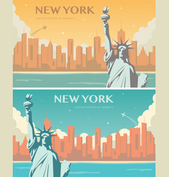 statue liberty banner set world landmark vector image